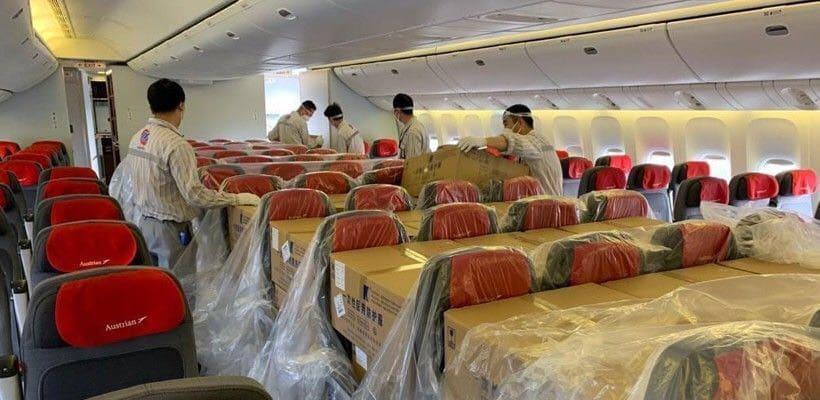 ภาพตัวอย่างประกอบการขนส่งสินค้าทางอากาศที่มีการใช้งานวัตถุป้องกันการลามไฟ